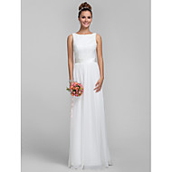 Bridesmaid Dress Floor Length Chiffon and Lace Sheath Column Bateau Dress