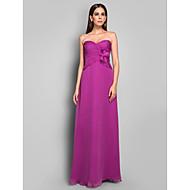 Sheath/Column Sweetheart Sleeveless Floor-length Chiffon Evening Dress