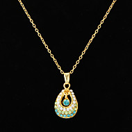Delicate 18K Gold Plated Alloy With Shining Rhinestone Pendant Women's Necklace