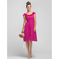 Knee-length Chiffon Bridesmaid Dress - Fuchsia Plus Sizes / Petite A-line / Princess Scoop