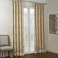 (dois painéis) Barroco ouro turbina forrado cortina blecaute