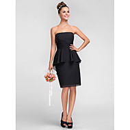 Knee-length Chiffon Bridesmaid Dress - Black Plus Sizes / Petite Sheath/Column Strapless