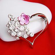 kvinnors ihåliga hjärta blomma brosch