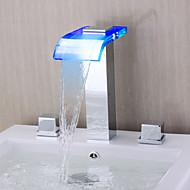 Současné Římská vana LED / Vodopád with  Keramický ventil Dvěma uchy tři otvory for  Pochromovaný , Vanová baterie