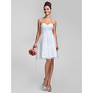 Knee-length Lace Bridesmaid Dress - White Plus Sizes / Petite A-line / Princess Sweetheart