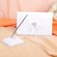 Wedding Guest Book and Pen Set in White Satin With Rhinestone Accents