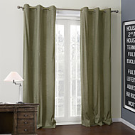 (Two Panels) Solid Dark Khaki Coating Thermal Curtain
