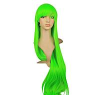 Korkiton korkealuokkaiset Synteettinen Vihreä Suorat pitkät hiukset peruukki