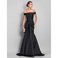 Formal Evening Dress - Black Plus Sizes Trumpet/Mermaid Off-the-shoulder Sweep/Brush Train Taffeta