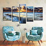"35"" Ocean Wall Clock In Canvas 5pcs"