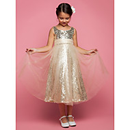 A-line/Princess Tea-length Flower Girl Dress - Tulle Sleeveless