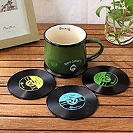 silicone disques vinyles coaster - set de 2 (plus de couleurs)