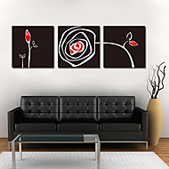 Stretched Canvas Art Abstract Black Rose Set of 3