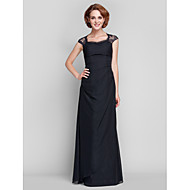 Lanting Sheath/Column Plus Sizes / Petite Mother of the Bride Dress - Black Floor-length Sleeveless Chiffon / Lace