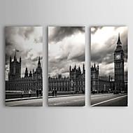 Reproducción en lienzo de arte del paisaje de la calle Londres por Giuseppe Torre Juego de 3