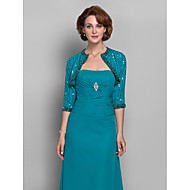 Women's Wrap Shrugs 3/4-Length Sleeve Chiffon Jade Wedding / Party/Evening Scoop Beading Open Front