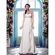 Lanting Bride® A-line Petite / Plus Sizes Wedding Dress - Classic & Timeless Sweep / Brush Train Sweetheart Chiffon withBeading /