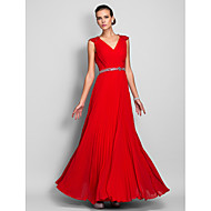 Formal Evening/Prom/Military Ball Dress - Ruby Plus Sizes Sheath/Column Queen Anne Floor-length Chiffon