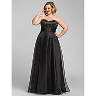 Formal Evening/Prom/Military Ball Dress - Black Plus Sizes A-line/Princess Sweetheart Floor-length Organza