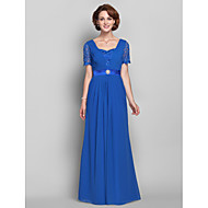 Lanting A-line Plus Sizes / Petite Mother of the Bride Dress - Royal Blue Floor-length Short Sleeve Chiffon / Lace