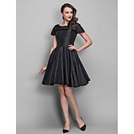 hemkomst cocktailparty klänning - svart plus storlekar a-line / princess Bateau knälång taft