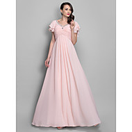 TS Couture Prom Formal Evening Military Ball Dress - Elegant A-line Princess V-neck Floor-length Chiffon withBeading Crystal Detailing