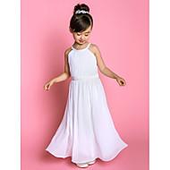 A-line Floor-length Flower Girl Dress - Chiffon / Stretch Satin Sleeveless Jewel with Sash / Ribbon / Side Draping