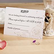 Gold Sketch Floral Response Card - Set of 12