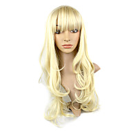 Capless Kanekalon Fiber Side-Swept Bang Long GoldenCurly Hair Wig
