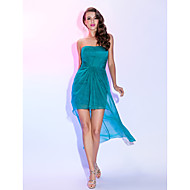 thuiskomst cocktail party dress - jade grote maten schede / kolom strapless asymmetrische chiffon