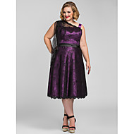Homecoming Cocktail Party/Holiday/Homecoming Dress - Grape Plus Sizes A-line Tea-length Lace/Stretch Satin