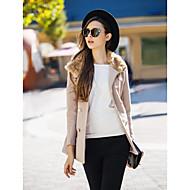 TS Double Breasted Fur Collar Woollen Coat