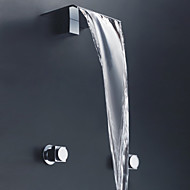 Contemporary Wall Mounted Ceramic Valve Three Holes Two Handles Three Holes for  Chrome , Bathtub Faucet