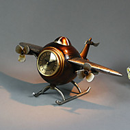 "14 ""Retro Art Aircraft Brown Tabletop Clock"