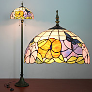 Flower Pattern Floor Lamp, 2 Light, Tiffany Resin Glass Painting Process