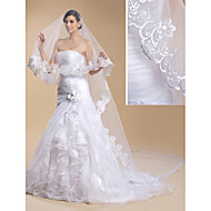 Wedding Veil One-tier Cathedral Veils Lace Applique Edge 118.11 in (300cm) Tulle / Lace White / Ivory Sheath/ Column / Trumpet/ Mermaid