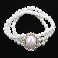 Elegante filo della perla con il braccialetto strass donne