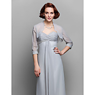 Women's Wrap Shrugs 3/4-Length Sleeve Chiffon Silver Wedding / Party/Evening Wide collar Beading Open Front