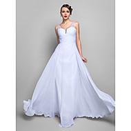 A-line V-neck Floor-length Chiffon Evening/Prom Dress (699421)