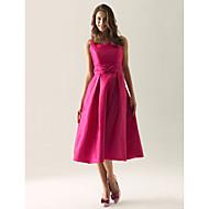 Homecoming Tea-length Taffeta Bridesmaid Dress - Fuchsia Plus Sizes A-line/Princess Straps/Square