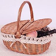 Classic Grey Cotton Cloth Bamboo Storage Basket