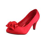 Women's Spring / Summer / Fall Heels Velvet Wedding Stiletto Heel Flower Red