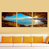 Canvas Set of 3 Landscape Sea in Sunrise Stretched Canvas Print Ready to Hang