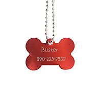 Personlig gave kødbensformet rødt kæledyr Id navneskilt med kæde til hunde