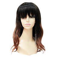 Sexy Mono Topp 100% Menneskelig Remy Hair Short Long Wavy Black And Brown Gradient Color Hair Wig