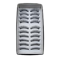 10 Pairs European Human Hair EyeLash Black False Eyelashes