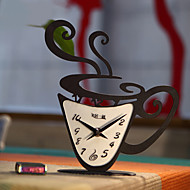 "14 ""H Modern Style Coffee Cup Shape Iron Tabletop Clock"