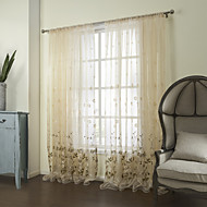 Country Two Panels Floral  Botanical Beige Bedroom Poly  Cotton Blend Sheer Curtains Shades