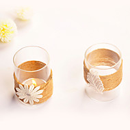 Cylinder Glass Candle Holder With Flower and Hemp Rope Decorated (Random Design)