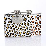, Személyre szabott ajándékot Leopard Print Pattern 5oz PU bőr Capital Letters Flask